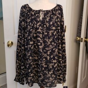 Chaps Navy and Tan Floral Top NWT